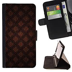 DEVIL CASE - FOR HTC Desire 820 - Abstract Brown Diamond Quilt - Style PU Leather Case Wallet Flip Stand Flap Closure Cover