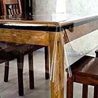 Rooney Heavy-Duty 100% Vinyl Clear/Transparent Tablecloth TOP Cover Water Proof Hard Plastic Easy Clean Vinyl Spills…