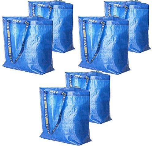 IKEA 6 Frakta Shopping Bags 10 Gal Blue Tote Multi Purpose Durable Material