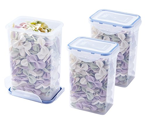 Airtight Rectangular Tall Food Storage Container 44-oz / 5.5-cup - Sugar, Chip, Flour Container (set of 3) - BPA Free Plastic - Microwave, Freezer and Dishwasher Safe -
