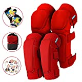 Innovative Soft Kids Knee and Elbow Pads with Bike Gloves | Toddler Protective Gear Set w/Bag | Roller-Skating, Skateboard, Bike for Children Boys Girls ((2nd Gen) Pure Red, Small (2-4 Years))