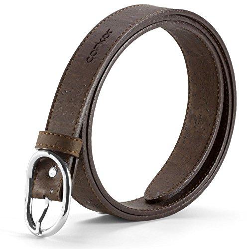 Corkor Women's Cork Belt 25mm Wide Vegan Product Brown Color Small Size (Womens Vegan Belts)