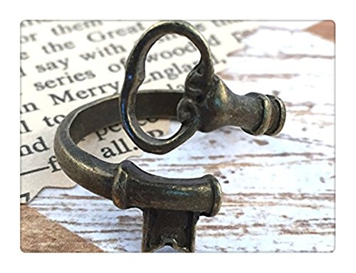 Skeleton Key Ring Antique Bronze Vintage Adjustable Jewelry Wraparound Spoon Ring