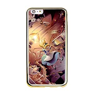 Classic Disney Cartoon Cinderella Gold Plastic TPU Skin Cover Case for Iphone 6 Plus/6S Plus (5.5 inch) Special Design Cinderella Phone Case Cover