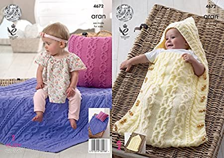 King Cole Baby Aran Knitting Pattern For Cable Knit Hooded Sleeping