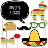 Custom Mexican Fiesta Photo Booth Props - Personalized Mexican Themed Serape Party Supplies for Cinco de Mayo Party or Carnival - 20 Selfie Props
