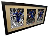 Signed Soccer Black 2016/17 Signed Diego Costa Eden Hazard Willian Autographed Triple Chelsea Autographed Photo Photographed Picture Frame Football Gift