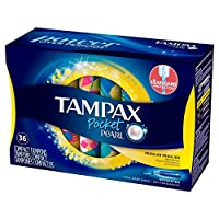 Tampax Pocket Pearl Plastic Tampons, Regular Absorbency, Unscented, 36 Count, Pack of 3