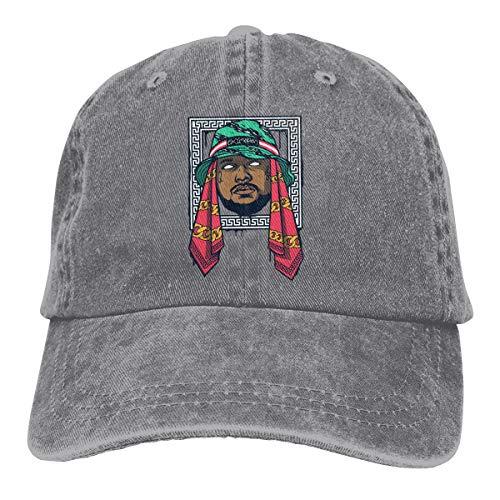 Schoolboy Cap - Amerltees Schoolboy Q Head1 Unisex Vintage Washed Distressed Baseball-Cap Twill Adjustable Dad-Hat Gray