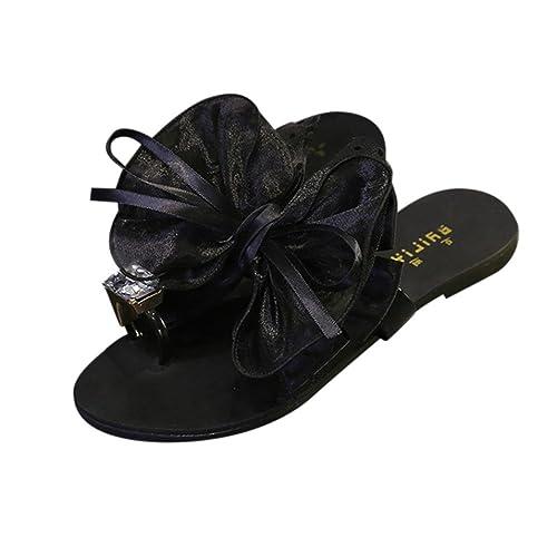 40adea9ba9b8d Women Flip Flops Daoroka Summer Floral Bow Flat Heel Indoor Outdoor Beach  Sandals Casual Cute Fashion