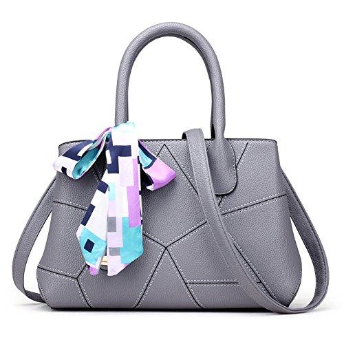 Meoaeo Paquete De Moda Primavera 2017 Nueva Bolsa De Hombro De Mosaicos Geométricos Negro Light grey