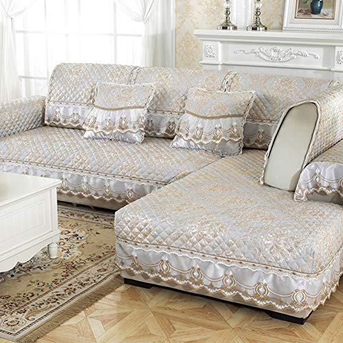 Price comparison product image OVER-PK European Style Lace Couch Covers, Waterproof Elastic Straps Slipcover Sofa for 1 2 3 4 Non-Slip Sofa Cover-F 60x70cm(24x28inch)