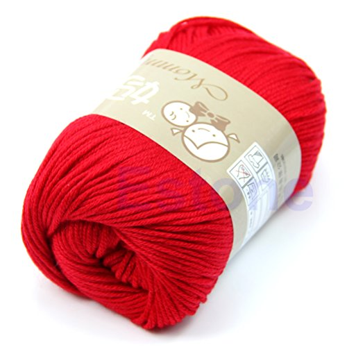 Yarn Skeins - 50g/1ball Soft Natural Hand Knitting Yarm Perfect for Any Knitting Baby Sweater and Crochet Mini Project (red) (Crochet Silk Skirt)