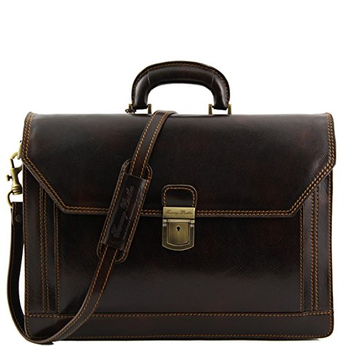 3/4 Flap Messenger Bag (Alberto Bellucci Mens Italian Leather Capri Triple Compartment Laptop Briefcase in Dark Brown)