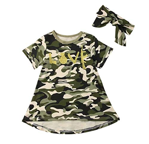 KIDDAD Toddler Baby Girls Love Camouflage Print A-Line Tank Dress Short Sleeve Camo Print Princess Tutu Dress
