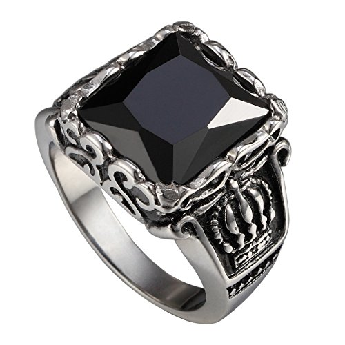 316l Stainless Steel Classical Exquisite Queen Crown Pattern Gothic Dragon Claw Jet Black Agate Crystal Rings For mens (11)