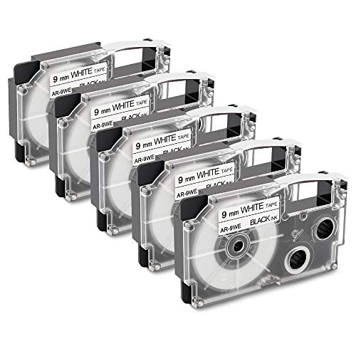 5-Pack Replacement for Casio XR-9WE2S XR-9WE 9mm Black on White Label Maker Tape Compatible with Casio KL-100 KL-120 KL-750 KL-7000 Label Maker (Casio Label Maker Tape 9mm Black On White)