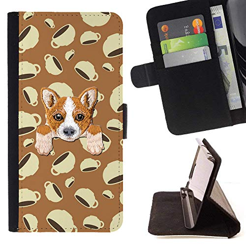 [ Welsh Corgi ] Embroidered Cute Dog Puppy Leather Wallet Case for LG V30 [ Coffee Cup Love Mug Pattern ]