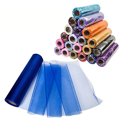 Fabric Blue Organza - Meijuner 29CM Width X 25M Length Organza Roll Sashes Fabric Table Runner Chair Sashes Bow for Decoration (Royal Blue)