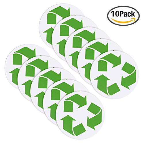 Hestya 10 Pack Recycle Symbol Decals Recycling Symbol Sticker for Recycling Bins Garbage Can Window Car and Truck