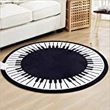 S.Green Novelty Black White Piano Keys Design Living Room Sofa Table Large Round Rugs and Mats Bed Floor Carpet Diameter 47 inches