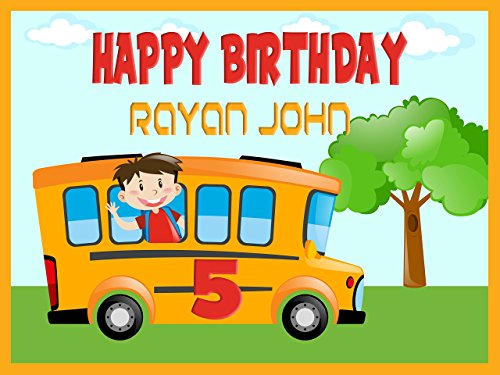 Custom Home Décor School Bus Birthday Banner - Size 24x36, 48x24, 48x36; Personalized back to school, kids decoration, school banner, Birthday Banner Wall Décor, Handmade Party Supply Poster - Pics Teen Glasses