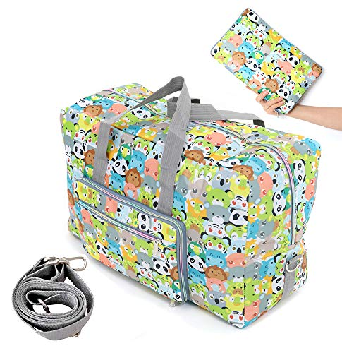 - WFLB Travel Duffel Bag Foldable Floral Large Travel Bag Weekend Bag Checked Bag Luggage Tote 18 Style 21.6IN x 9.8IN x 13.7IN (animal)