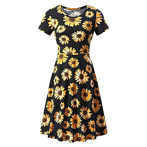 (Women Short Sleeve Round Neck Summer Casual Flared Midi Dress Ladies A Line Sundresses Chaofanjiancai)