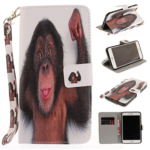 Maoerdo iPhone 5C Case [Monkey][Kickstand Feature][Money Card Slot] Wallet Case [Double Sided Design] Premium Soft TPU Synthetic Leather Wallet Cover For Apple iPhone 5C (Best Features Of Iphone 5c)