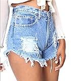 Yayu Women's Summer Off Distressed Hole Faded Jean Denim Shorts LightBlue US L