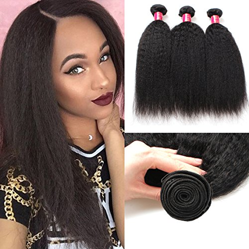 - Mink Hair Yaki Straight Human Hair Bundles (12 14 16) 7A Grade Unprocessed Virgin Brazilian Kinkys Straight Hair Extensions Natural Color