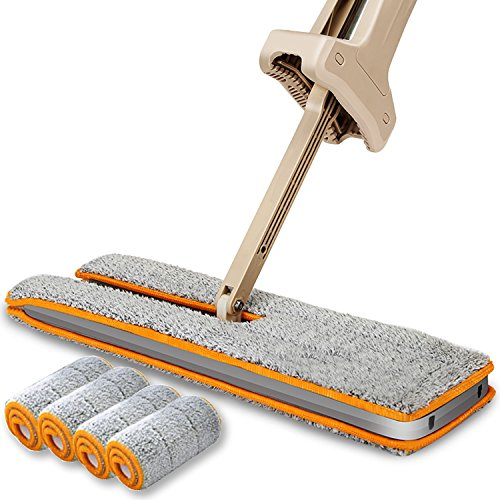 Double Sided Microfiber Mop- Easy Self Wringing Microfiber 360 Lazy Flat Floor Mop Handwash Free Wet and Dry Floor Cleaning Mops (A Total Of 4 Mop Cloth)
