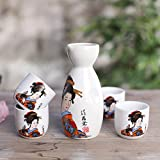 Brand New Japanese Sake Set with Four Cups Hand Painted Classical Beauty Pattern Style Pottery Traditional Ceramic Home Gifts Wine Cup