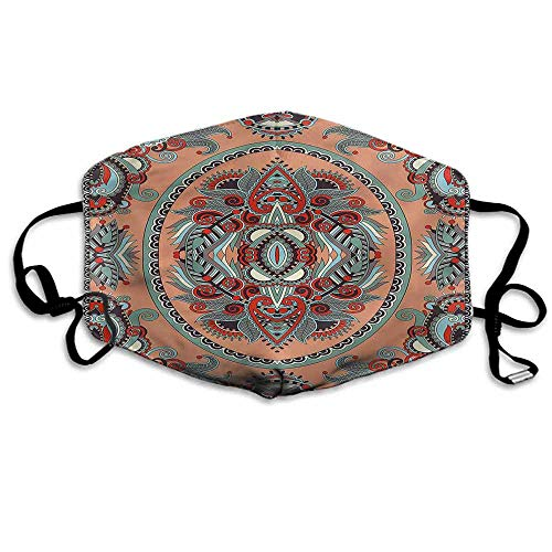 Floral Dust Mouth Mask Ethnic Ukranian Carpet for Men and Women W4