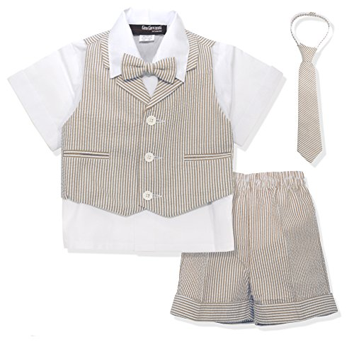 Gino Giovanni G286 Baby Toddler Boy Seersucker Summer Suit Vest Short Set (4T, Natural)