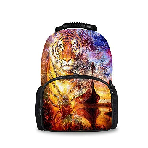 - Durable Polyester Daypack Tiger and Viking Boat Traveling & Camping Backpack - Large Capacity Multipurpose Anti-Theft Carry-On Bag for Girls Boys