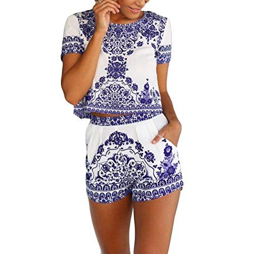 2 Piece Outfits Jumpsuit Rompers Women O-neck T-shirt Blouse Floral Short sleeve Crop Top + Shorts Set (S, Blue) (T Shirt Romper For Women)