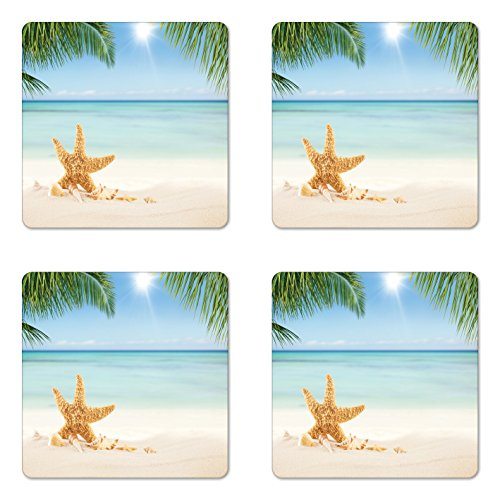 (Lunarable Ocean Coaster Set of Four, Graphic of Summer Sandy Beach with Majestic Starfish on Tropical Hawaiian Beach, Square Hardboard Gloss Coasters for Drinks, Cream Blue Green)
