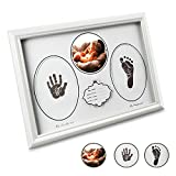 E-More Baby Handprint & Footprint Picture Frame Kit With No-Mess Ink Pad Clean & Elegant A Perfect Baby Shower Gifts for Registry (12.2'' x 8.7'')