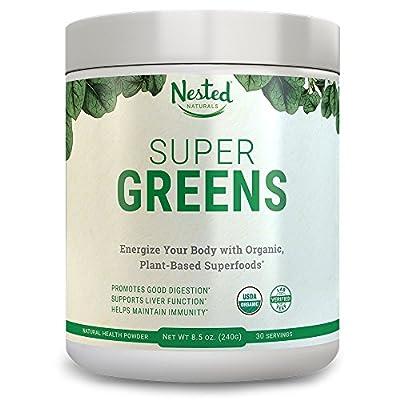 SUPER GREENS | #1 Green Veggie Superfood Powder | 30 Servings | 20+ Whole Foods (Wheat Grass, Spirulina, Chlorella, Barley), Probiotics, Fiber & Enzymes | 100% USDA Organic, Non-GMO, Vegan Supplement