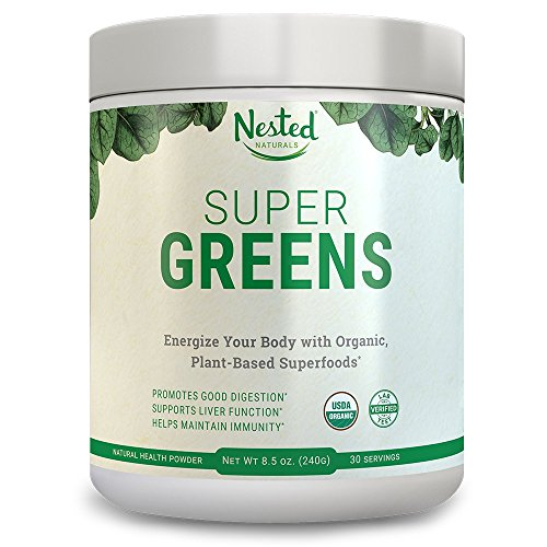 SUPER GREENS | #1 Green Veggie Superfood Powder | 30 Servings | 20+ Whole Foods (Wheat Grass, Spirulina, Chlorella, Barley), Probiotics, Fiber & Enzymes | 100% USDA Organic, Non-GMO, Vegan Supplement (Original)