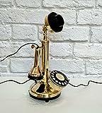 Rotary Dial Candlestick Telephone Decorative Shinny Brass Antique Replica