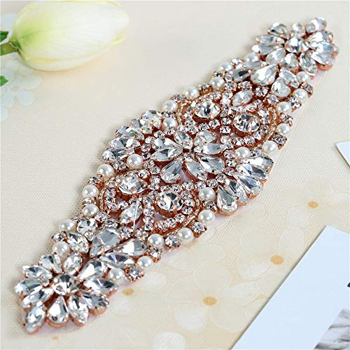 FANGZHIDI Bridal Rhinestone Applique for DIY Wedding Sashes Belts, Flower Girl Basket-1 Piece Rose Gold (8.1