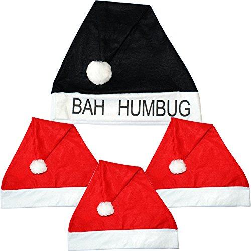 4x Classic Novelty Christmas/Xmas Hat-Fancy Dress Secret Santa Gift Bah Humbug