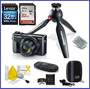 Canon PowerShot G7 X Mark II Digital Camera Video Creator Kit PRO Bundle, Includes 32GB SDHC Class 10 Memory Card, SD Card Reader, Memory Card Wallet, Camera Case & Lens Cleaning Kit