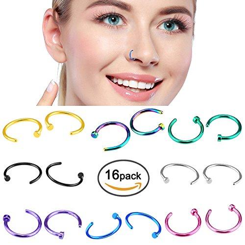 Nose Hoop Rings,18G 16pcs Stai