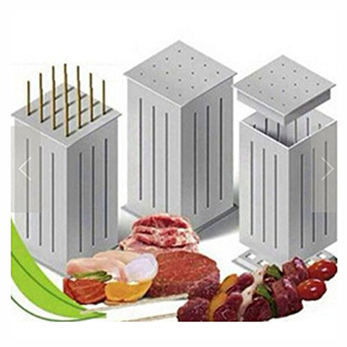 Xiaolanwelc@ Portable ABS 16 Hole Meat Skewer Kabob Maker Box Barbecue Tools BBQ Kabob Maker Machine Beef Meat (16 Hole)