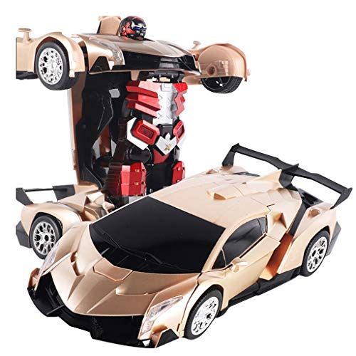 Electric Transformer Robot Car Toy for Kids with Light and Sound Gesture Sensing Remote Control Car 1 Button Remote Control Deformable Car Robot (Gold)