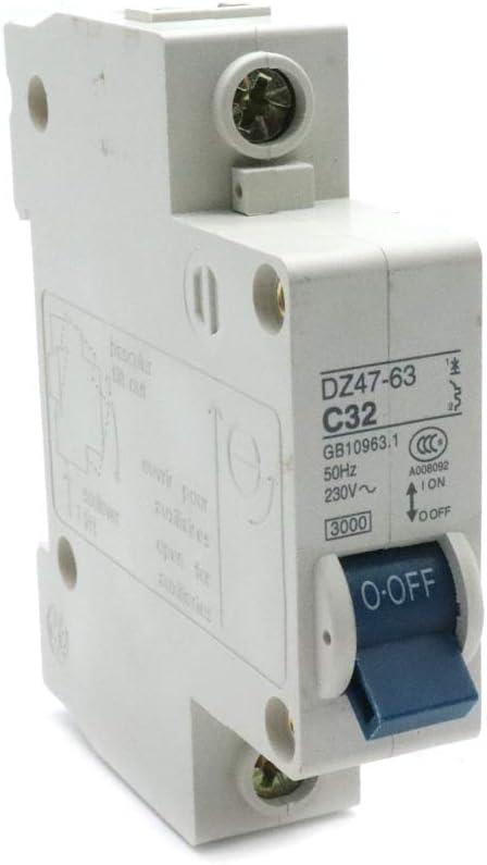 Yohii Miniature Circuit Breaker Din Rail Mount 50A 230//400V DZ47-63 C50
