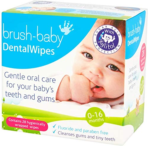 Brush Baby Teething Relief Dental Wipes for Ages 0-Toddler – Naturally Eliminate Teething Pain, Prevent Tooth Decay and Sour Milk Breath – 28 Finger Wipes